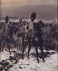 Colonel Lepic (later general Lepic) and his grenadiers à cheval at the battle of Eylau. Before Waterloo, this was the only occason in which the Imperia Guard had to take parte into battle. Military Art, Military History, Military Uniforms, Le Colonel Chabert, Edouard Detaille, Apocalypse Art, Most Famous Paintings, Battle Of Waterloo, Total War