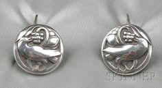 Sterling Silver Cuff Links, Georg Jensen, each with bird and berry motifs, no. 43, signed Georg Jensen, Denmark.