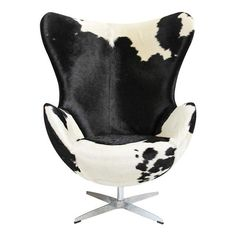 Check out our chairs at Mix Furniture! Striking black and white cow hide upholstered egg chair with chrome swivel base. Metal Outdoor Chairs, Wicker Dining Chairs, Leather Dining Room Chairs, Upholstered Chairs, Ikea Dining, Ikea Chairs, Desk Chairs, Eames Chairs, Leather Chairs