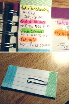 Bookmark:Cut 5 index cards into a small rectangle and use washi-tape to connect them on bottom. Separate tops another piece of differentr washi-tape attach a paper clip, scotch tape ta-da! A bookmark made specifically so that the top band of washi-tape sticks out right above the page line so that it is always visible.