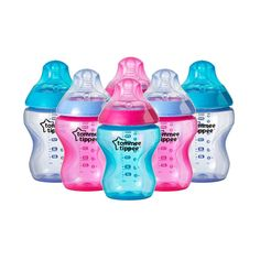 Tommee Tippee Pink Decorated Bottles Tommee Tippee Closer To Nature 260Ml9Oz Pink Decorated Bottles X
