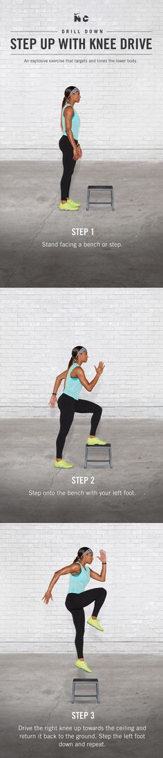 Target your glutes and power your lower body with Step Up with Knee Drive in Skylar Diggins', 5-minute Zoom in 5 workout on Nike+ Training Club.