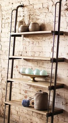 wall-mounted and impressive ladder-style shelves