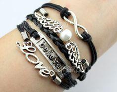 jewelry bracelet silvery believe bracelet love by handworld, $5.99