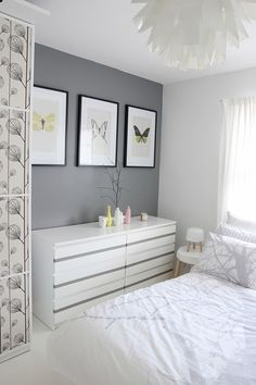 Malm drawer update - Grey stripe to match accent wall color or a shade lighter. For malm 6 drawer high chest, top drawers white with stripe as above, remaining drawers solid Grey (only drawer front)