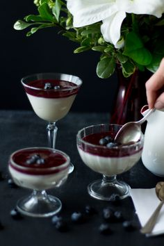 learn how to make panna cotta with berry sauce