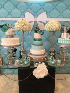 Wow, Don't miss this Tiffany inspired Quinceañera. Truely stunning! Just look at that beautiful cake! See more party ideas at CatchMyParty.com