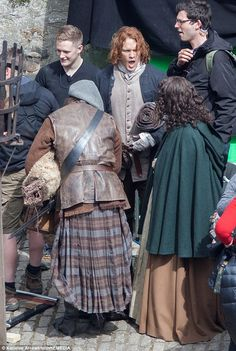 Acting up: The flame-haired Scottish actor has a laugh and a joke on the set of the hit show