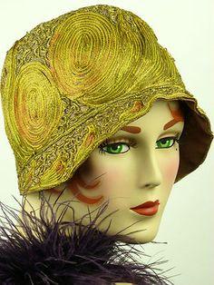 Vintage hat 1920s ART DECO CLOCHE ~