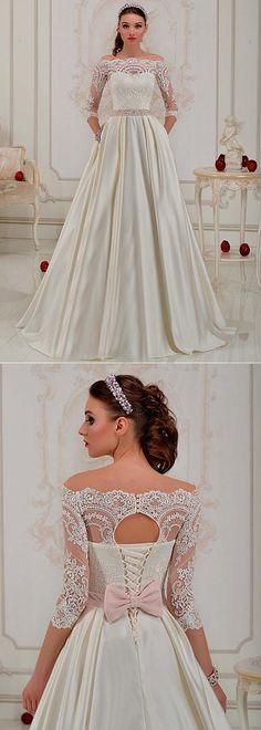 Glamorous Tulle & Satin Off-the-shoulder Neckline A-Line Wedding Dress With Lace Appliques & Belt