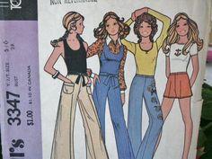 Vintage 1972  Hippie Era Boho Tunic Top Hot Pants Shorts Bell Bottom Pants Teen Sewing Pattern 9372 Size 5/6 Bust 28. $5.50, via Etsy.