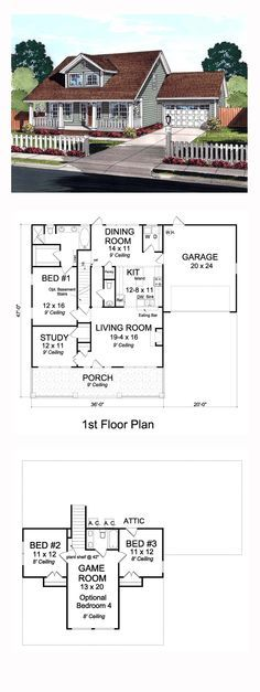 Cape Cod House Plan 61442 | Total Living Area: 2066 sq. ft., 3 bedrooms and 2.5 bathrooms. #capecodhome