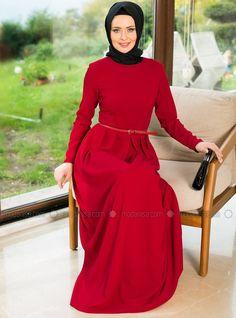 Pileli Elbise - Kırmızı - Mimya