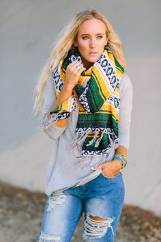 Oversized Nipomo Shawl {Green/Yellow} Green Bay Packers Scarf or Oakland A's Scarf by Three Bird Nest   Women's Bohemian Clothing
