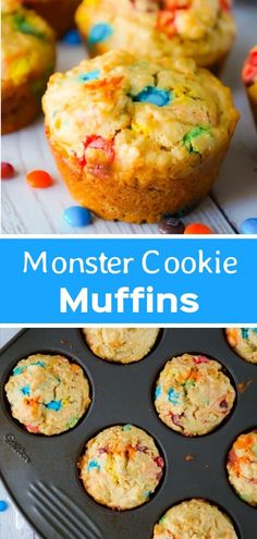 Monster Cookie Muffins are an easy breakfast or snack recipe made with cake mix. Kuchen , Monster Cookie Muffins are an easy breakfast or snack recipe made with cake mix. Monster Cookie Muffins are an easy breakfast or snack recipe made . Simple Muffin Recipe, Muffin Tin Recipes, Cake Mix Recipes, Baking Recipes, Snack Recipes, Dessert Recipes, Snacks, Healthy Recipes, Cake Mix Muffins