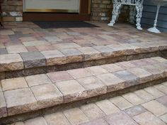 Use Willow Creek Pavers To Cover An Old Concrete Stoop.