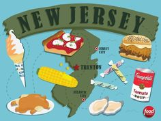 Find out where to get the best food in New Jersey. Food Network has you covered with sliders, pork roll sandwiches, pizzas, oysters, tomato pies and more. Jersey Girl, New Jersey, Rolled Sandwiches, The Wild Geese, Pork Roll, State Foods, Tomato Pie, Food Challenge, Country Cooking
