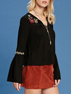 #AdoreWe #JustFashionNow yinbo A Little More Embroidered Bell Sleeve Blouse - AdoreWe.com