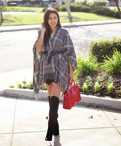 Black Knee High Boots, Blanket Fashion, Cape, Plaid Blanket, Plaid Cape, Plaid Wrap, Wrap, JCPenney Plaid Wrap, Black Skort, Express Skort, Forever 21 Knee High Boots, Vamilla Paris Bertie Bag, How to wear a wrap for fall, Red Bag, Hermes Inspired Bag,