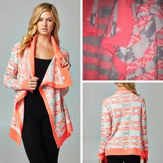 f7ec6f64f35 NEW PLUS SIZE CARDIGAN! Neon Pink and Gray Aztec Cardigan Plus Size (1XL-