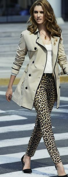 Latest fashion trends: Street style | White cami, leopard prints pants and button up cream coat