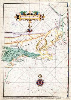 """Block's map of his 1614 voyage, with the first appearance of the ter """"New Netherland""""   .....  now Indonesia"""