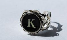 Typewriter Key Ring  Adjustable Ring Personalized by JustWearThese, $23.00