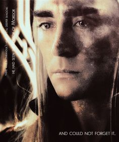 Thranduil would be forever haunted by what he had seen at the Gates of Mordor in his youth, and was determined to protect his people from exposure to the horrors of War.