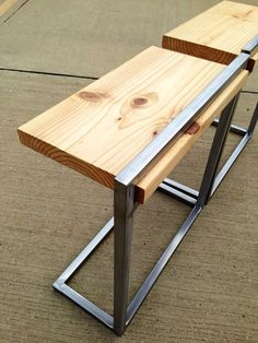 Custom Reclaimed Wood and Steel Side Tables