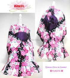 着物浴衣Japanese Kimono Summer Dress Yukata Flower by on Etsy, Japanese Kimono Dress, Yukata Kimono, Kawaii Fashion, Lolita Fashion, Sweet Style, Japanese Fashion, Dress Collection, Harajuku, Sweet Fashion