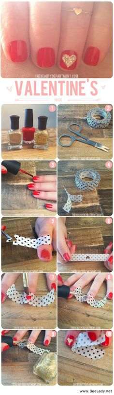 Nails Idea for Valentines Day with tutorial