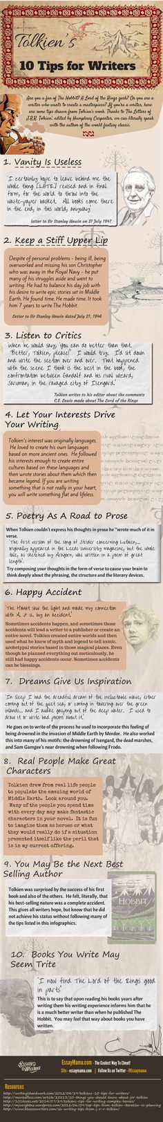 Writing tips from Tolkien. I've never read any of his books but this is great advice. I take number 8 to heart all the time. Everyone in my life is going to end up in a novel at some point.