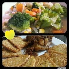Vegies Soup makes friend with fried spicy chicken and tempe