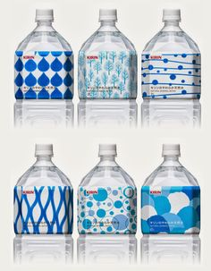 Patterned shrink wrap on squat, yet beautiful, water bottles for Kirin Water.