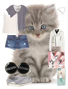 """""""Kitty love"""" by missmadeleinemoo ❤ liked on Polyvore featuring Lipsy, Raey, Current/Elliott, Yves Saint Laurent, Converse and Casetify"""