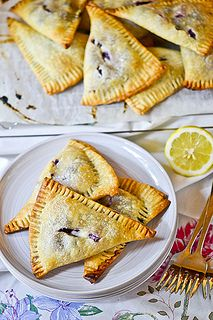 Blueberry-Cream Cheese Hand Pies - This one uses a store-bought pie crust, making it easy and quick to make these super delicious pies. They really do stand up well to being handled and transported. Try other fruit fillings if desired.