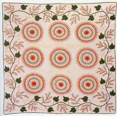 Gorgeous quilts from Pine Ridge Quilters sunburst Old Quilts, Antique Quilts, Vintage Textiles, Vintage Quilts, Sunflower Quilts, American Quilt, Green Quilt, Quilt Border, Traditional Quilts