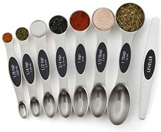 Spring Chef Magnetic Measuring Spoons Set, Dual Sided, Stainless Steel, Fits in Spice Jars, Set of 8 - Lovely Novelty Cinnamon Sugar Pumpkin Seeds, Bulthaup Kitchen, Spice Jar Set, Spice Drawer, Boffi, Smitten Kitchen, Cupping Set, Measuring Spoons, Kitchen Gadgets
