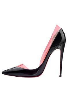 Christian Louboutin Black Half d*Dorsay Pumps with Pink PVC Spring-Summer 2014 #CL #Louboutins #Shoes