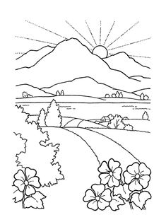 Coloring Pages ~ Free Coloring Pages Of Mountains Landscape Lovely Sunset Page Road To Mountain And S free coloring pages of mountains. Free Coloring Pages Mountains. Free Printable Coloring Pages Mountains. Scenery Drawing For Kids, Art Drawings For Kids, Easy Drawings, Drawing Pictures For Colouring, Coloring Pages Nature, Coloring Book Pages, Coloring Pages For Kids, Free Coloring Sheets, Free Printable Coloring Pages