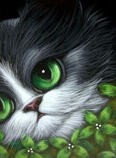 Art: TUXEDO KITTEN CAT - GREEN FLOWERS by Artist Cyra R. Cancel