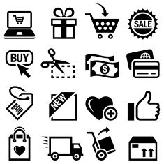 Shopping and E-Commerce black & white vector icon set vector art illustration