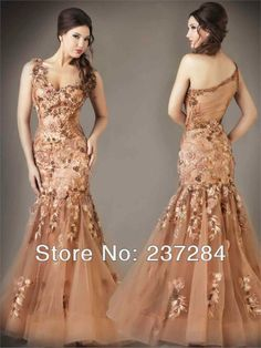 Wholesale - 2014 Mermaid Sexy One Shoulder Lace Crystals Sequins Floor Length Feather Satin Prom Dresses 78581 $209.00