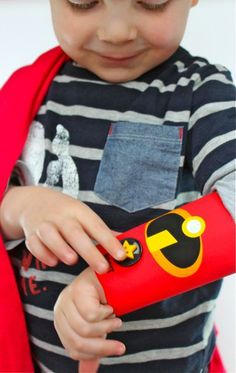 """Superhero Cuffs made with cardboard tubes & the free printables available here ("""",)"""