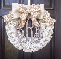Ivory Burlap monogram wreath // 3 letter monogram // burlap and white chevron bow // Distressed monogram // Year round wreath // Off white on Etsy, $125.00