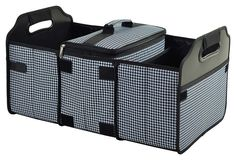 Picnic At Ascot Trunk Organizer and Cooler Set - Houndstooth Black and White - This durable 3 section trunk organizer has a removable Thermal Shield insulated cooler. Great for keeping sports gear, cleaning supplies and groceries organized. Picnic At Ascot, Picnic Bag, Picnic Backpack, Trunk Organization, Organization Station, Car Trunk, Motorhome, Tailgating, One Kings Lane
