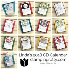 Sharing Linda White's Annual CD Calendar on my Blog!  2018 CD Calendar. Handmade, Stamped, Stampin' Up! Products.  See details on my blog!  #maryfish #stampinpretty Diy Calendar, Calendar 2018, Calendar Pages, Desk Calendars, Desktop Calendar, Perpetual Birthday Calendar, Craft Show Ideas, Stampin Up Cards, 3d Cards
