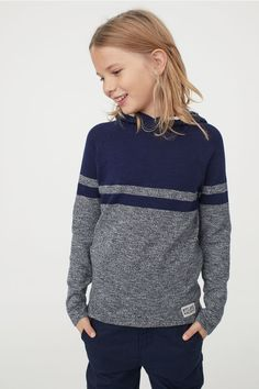 Fine-knit sweater in soft cotton fabric. Wrapover front with decorative drawstring, long sleeves, and ribbing at cuffs and hem. Boys Sweaters, Hooded Sweater, Dark Blue, Cotton Fabric, Pullover, Hoodies, Knitting, Long Sleeve, Bikinis