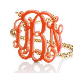 Monogram Necklace-Orange Acrylic. #necklace #jewelry #monograms 9thelm.com