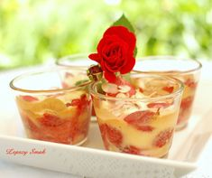 owoce z koglem moglem Dessert Recipes, Desserts, Panna Cotta, Pudding, Ethnic Recipes, Food, Tailgate Desserts, Deserts, Dulce De Leche